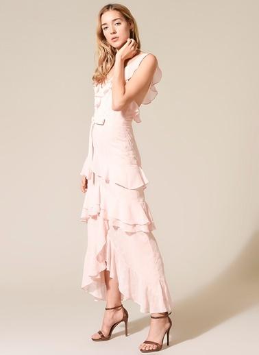 morhipo x dcey Fırfır Detaylı Puantiyeli Elbise Pudra